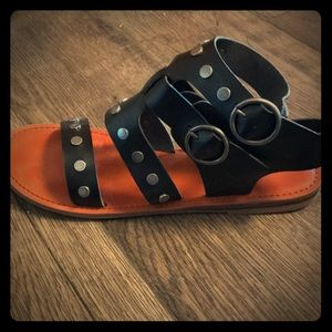 Gladiator black studded sandals